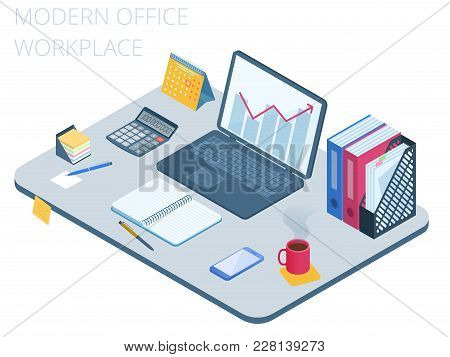 Flat Isometric Illustration Of Business Workspace. Office Workplace With Modern Technologies Equipme
