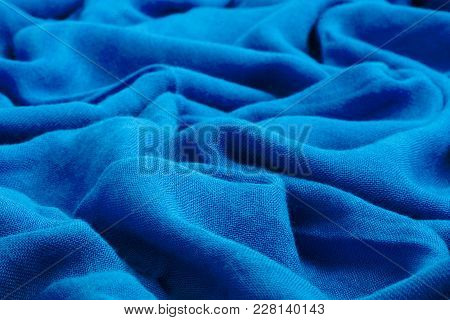 Dark Blue Drape Soft Fabric Decorative Textile Texture