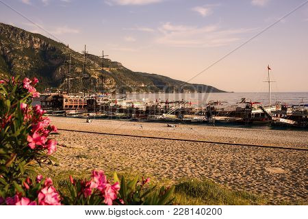 Oludeniz, Turkey - May 07, 2017:  Boats Returned From A Daily Tours And Some Tourists Still Staying