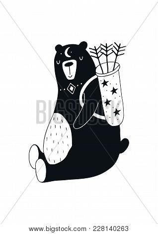 Cute Hand Drawn Nursery Poster With Hunter Bear In Scandinavian Style. Kids Vector Illustration.