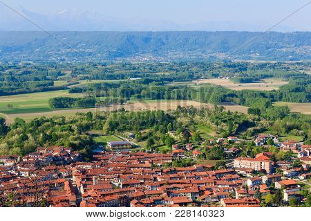 Panoramic View Of The Municipality Of Caravino (italy) And Of The Morainic Greenhouse /panoramic Vie