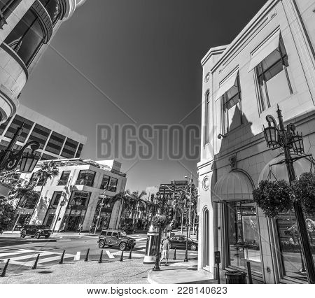 Elegant Buildings In Rodeo Drive, Beverly Hills. Los Angeles County, California. Black And White Eff
