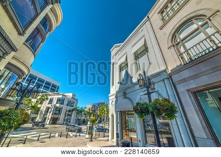 Elegant Buildings In Rodeo Drive, Beverly Hills. Los Angeles County, California