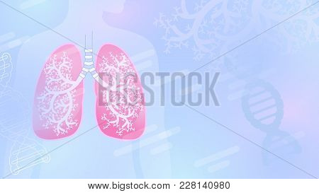Medical Abstract Vector Background With Lungs And Bronchial Tree, Blue Color, Light Shapes.