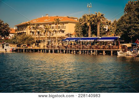 River Golu, Turkey - May 10, 2017:  Restaurants, Hotels,  Taverns And Boats  Along River Golu. Cinem