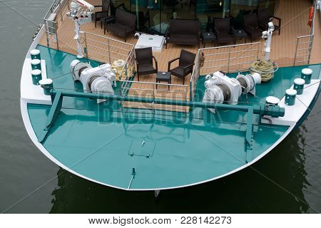 Close-up Of The Bow Of A Big Ship - Perspective From Above