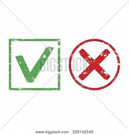 Design check rubber stamp. Decline and approved symbol mark stamp, vector illustration poster