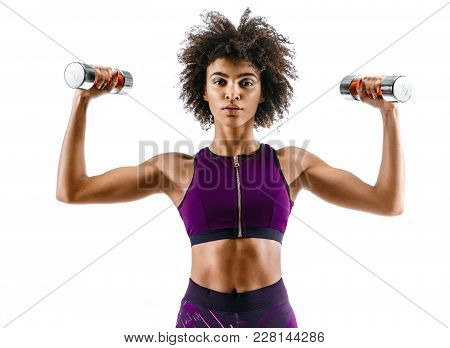 Sporty Girl Doing Exercises With Dumbbells. Photo Of Strong African Girl Isolated On White Backgroun