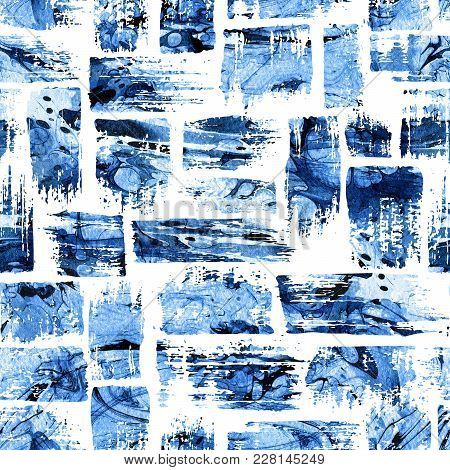 Watercolor Seamless Pattern With Brush Stripes And Strokes. Blue Color On White Background. Hand Pai