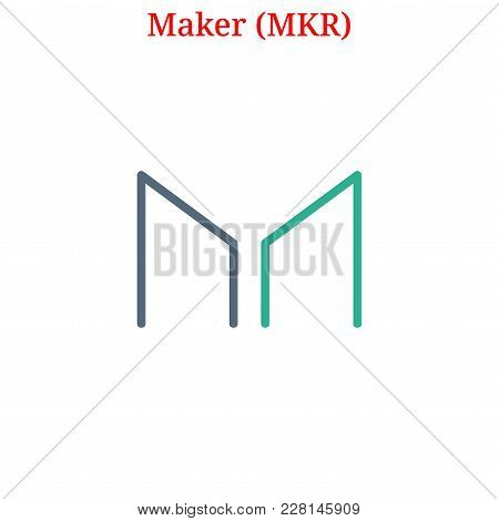 Vector Maker (mkr) Digital Cryptocurrency Logo. Maker (mkr) Icon. Vector Illustration Isolated On Wh