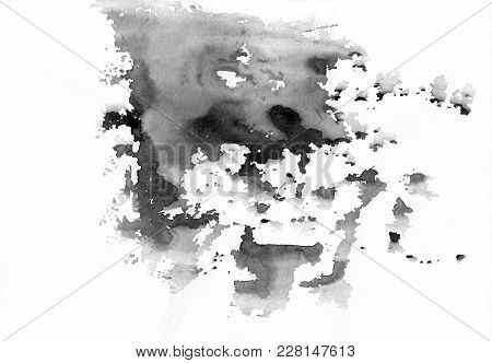Gray Abstract Watercolor Stains With Spatters And Splashes. Creative Black And White Watercolor Back
