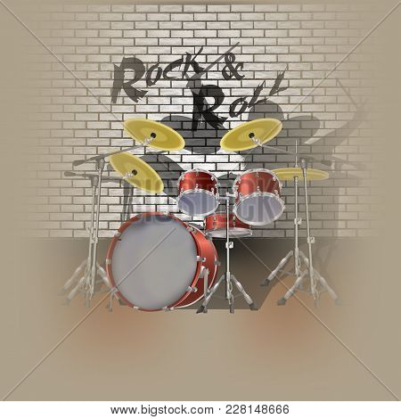 Vector Illustration Drum Kit Drummer And Shadow