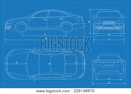 Car Schematic Or Car Blueprint. Vector Illustration. Sedan Car In Outline. Business Sedan Vehicle Te