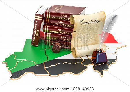 Constitution Of Sudan Concept, 3d Rendering Isolated On White Background