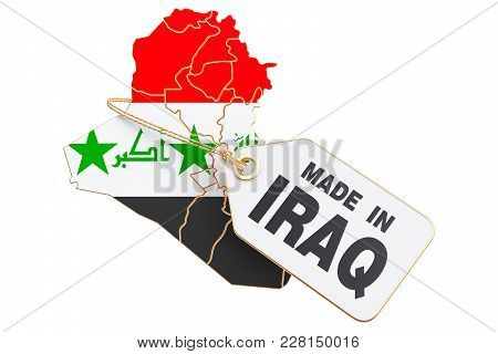 Made In Iraq Concept, 3d Rendering Isolated On White Background