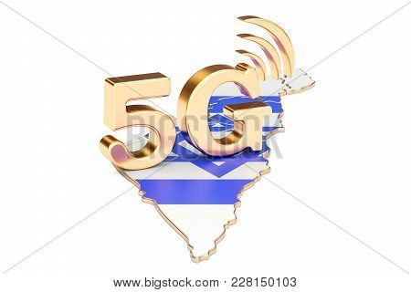 5g In Israel Concept, 3d Rendering Isolated On White Background