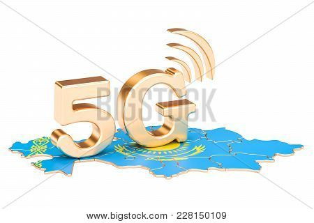 5g In Kazakhstan Concept, 3d Rendering Isolated On White Background