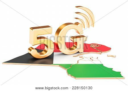 5g In Kuwait Concept, 3d Rendering Isolated On White Background