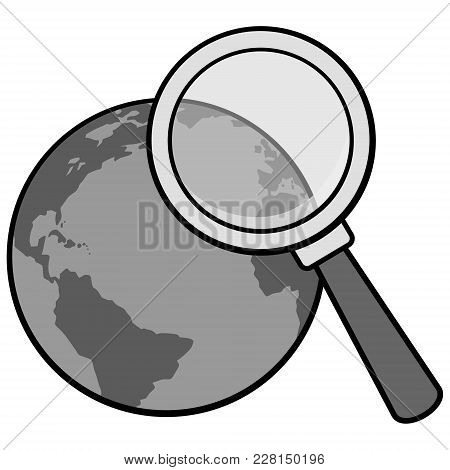 Global Research Illustration - A Vector Cartoon Illustration Of A Global Research Concept.