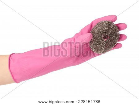 Hands In Rubber Gloves For Cleaning Metal Brush For Cleaning On A White Background Isolation