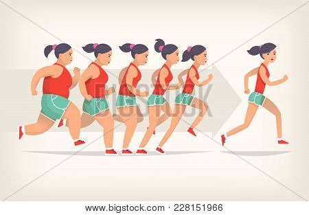 Running Girl Is Loosing Weight In Process Of Jogging. Stages Of Loosing Weight. Great Results In Spo