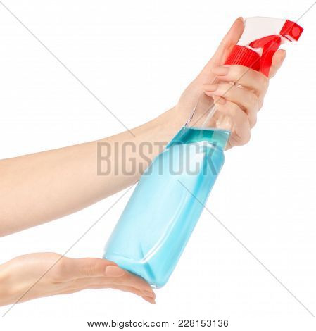 Hands Holding Bottles Spray For Washing Windows And Furniture On White Background Isolation