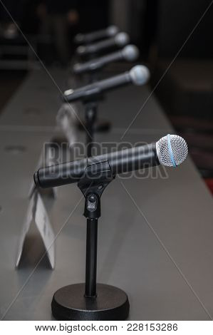 Microphones In Press Conference Room, Prepared For Press Conference.