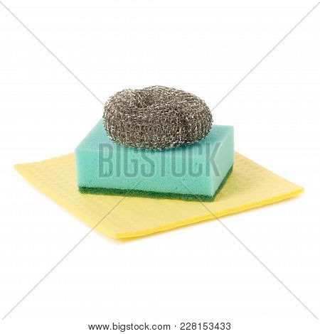 Kitchen Tools For Cleaning, Rag For Cleaning Sponge For Washing Dishes Metal Brush On White Backgrou