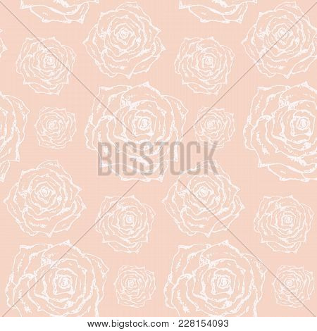 Tender Lovely Vintage Hand Drawn Seamless Pattern With Outline Scratched White Roses On Peach Backgr