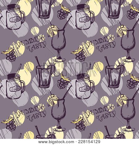 Colorful Coctails Pattern On Gray Background With Polka Dots