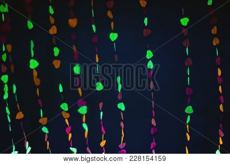 Abstract Blurry Colorful Hearts Shape. Bokeh Background