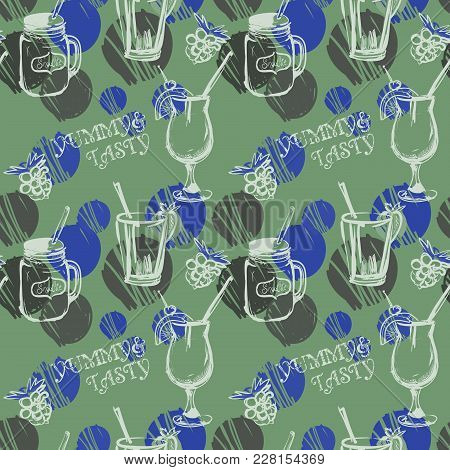 Colorful Coctails Pattern On Mint Background With Polka Dots