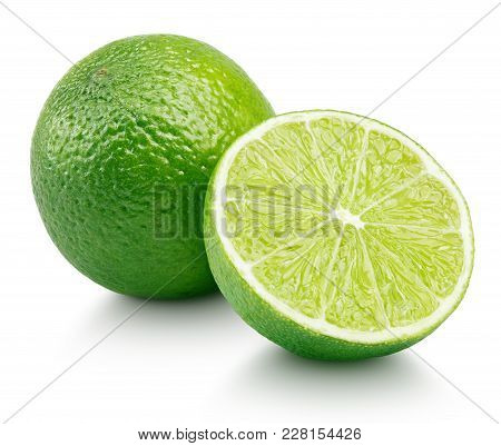 Whole Green Lime Citrus Fruit With Lime Half Isolated On White Background. Limes Citrus Fruit With C