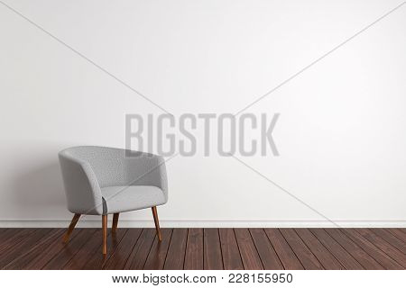 Simple Room Interior With Comfortable Armchair And White Concrete Wall With Copy Space. Mock Up, 3d