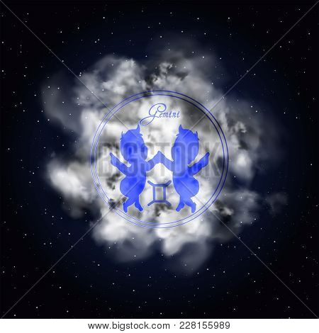 Gemini Astrology Constellation Of The Zodiac Smoke Against The Background Of The Starry Sky.