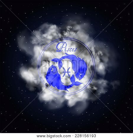 Pisces Astrology Constellation Of The Zodiac Smoke Against The Background Of The Starry Sky.
