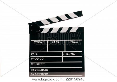 Clapper Board Isolated On White Background With Copy Space. Movie Production Clapper Board, Close-up