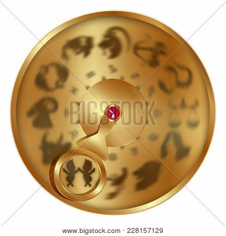 Vector Illustration Gold Disc With Signs Of The Zodiac, Gemini Separately Allocated. Isolated Object