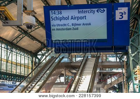 Den Bosch, The Netherlands - February 01, 2018: Railway Station Concourse With Information Panel , E