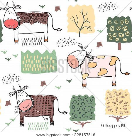 Seamless Pattern Background With Cow And Plants. Vector Illustration.