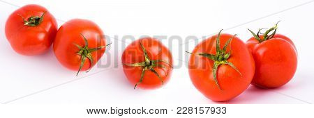 Fresh Tomatoes Isolated On White Background. The Panoramic Red Ripe Tomatoes Isolated On White Backg