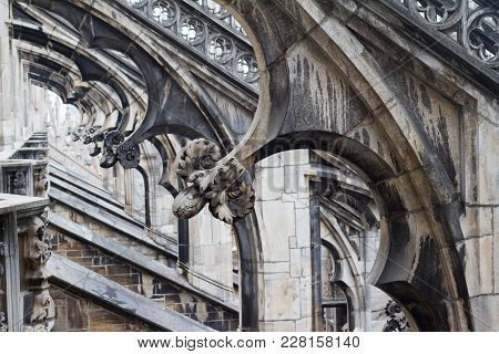 Horizontal Perspective View Closeup Of Columns In Gothic Architecture Milan Cathedral Dome
