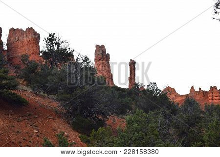 Red Spires Near Bryce Canyon In Southern Utah.