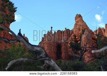 Red Sandstone Cliffs Towering Above A Pine Forest.