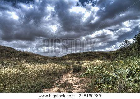 Landscape Of Hiking Trail At Ruhama Badlands In The Negev, Southren Israel