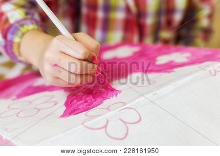 Children's Hands Draw A House For Dolls. Child Creativity Place For Text