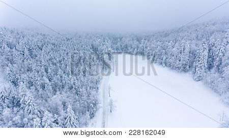 Aerial View Of Snow Covered Forest Meadow. Winter Fairytale.