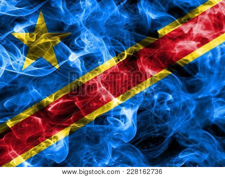 Democratic Republic Of The Congo Smoke Flag Isolated On A Black Background