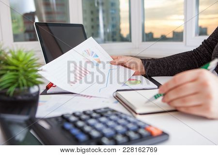 Business Women Work Process. Marketing Strategy Brainstorming. Paperwork And Digital In Office. The