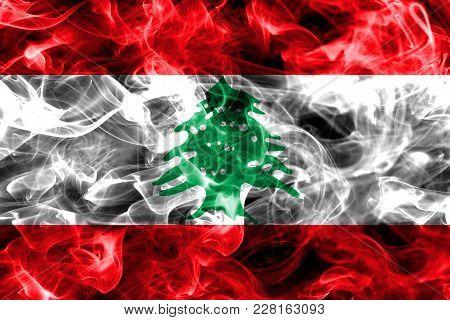 Lebanon Smoke Flag Isolated On A Black Background